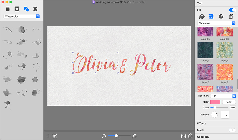 Adding watercolor texture to text