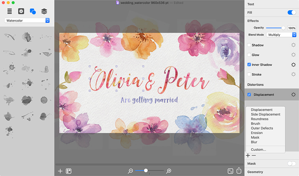 Watercolor graphics in Art Text